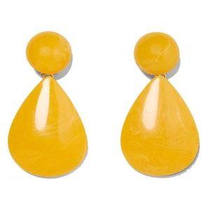 Zara big yellow spring drop statement earrings